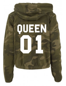 Bluza crop moro z kapturem QUEEN 01