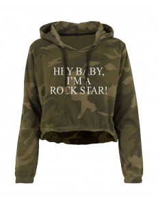 Bluza crop moro z kapturem HEY BABY I'M A ROCK STAR