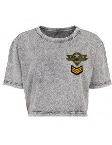 T-shirt crop washed z naszywkami ARMY