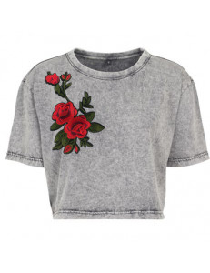 T-shirt crop washed z naszywką ROSE