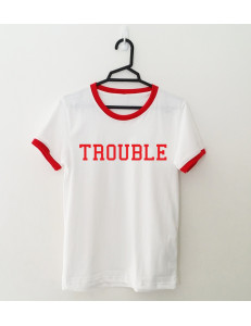 T-shirt oversize ringer TROUBLE /red/