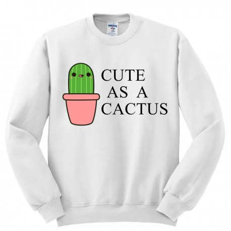 Bluza bez kaptura z nadrukiem CUTE AS A CACTUS