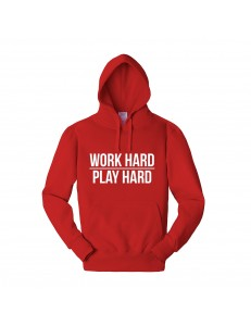 Bluza z kapturem z nadrukiem WORK HARD PLAY HARD