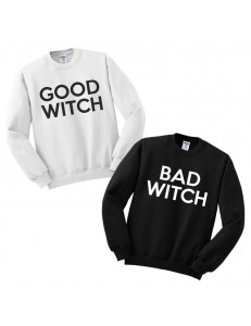Komplet bluz bez kaptura z nadrukiem GOOD WITCH i BAD WITCH