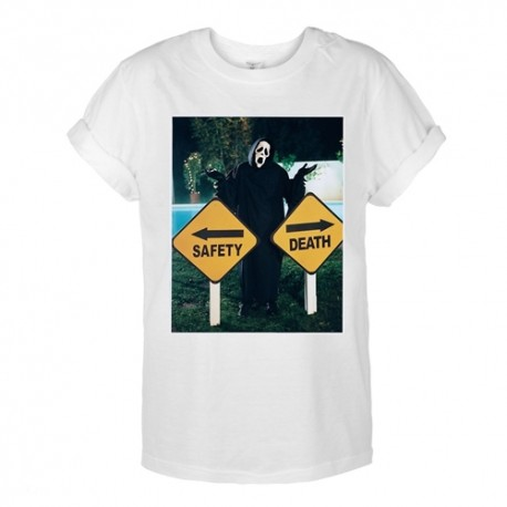 T-shirt oversize z nadrukiem SAFETY DEATH