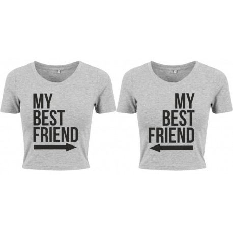 Komplet t-shirt'ów crop slim MY BEST FRIEND