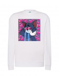 Bluza bez kaptura z nadrukiem CAT LOVER HEARTS