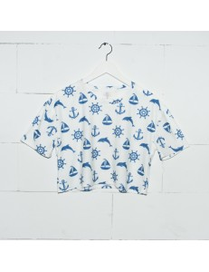 T-shirt top crop fullprint MARINE WHITE