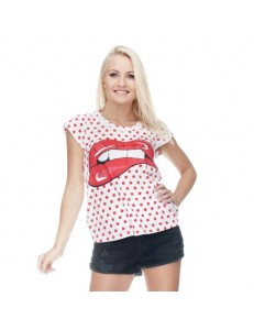 T-shirt damski fullprint DOT LIPS