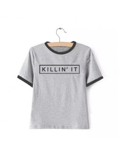 T-shirt oversize ringer KILLIN' IT /gray/