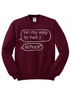 Bluza bez kaptura z nadrukiem ON MY WAY SCHOOL