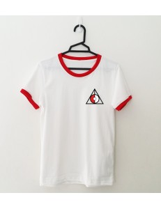 T-shirt oversize ringer TRIANGLE POKE /red/