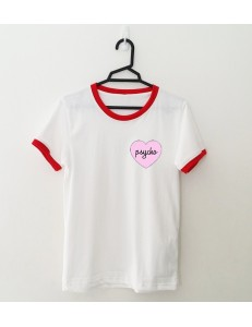 T-shirt oversie ringer PSYCHO PINK HEART /red/