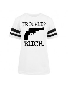 T-shirt damski z pasami TROUBLE BITCH
