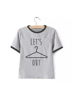 T-shirt oversize ringer LET'S OUT /gray/