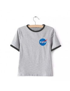 T-shirt oversize ringer NASA /gray/