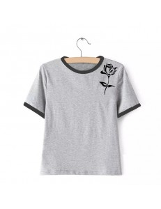 T-shirt oversize ringer BLACK ROSE /gray/