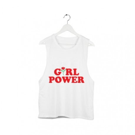 Top open sleeve GIRL POWER /biały/