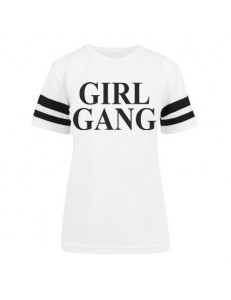 T-shirt damski z pasami GIRL GANG 3