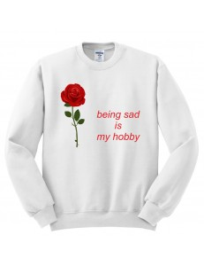 Bluza bez kaptura z nadrukiem BEING SAD ROSE