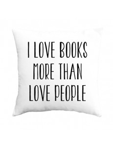 Poduszka z nadrukiem LOVE BOOKS LOVE PEOPLE