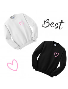 Komplet bluz bez kaptura z nadrukiem BEST FRIENDS HEART PINK
