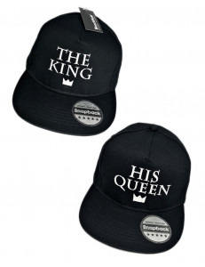 Komplet czapek snapback THE KING i HIS QUEEN